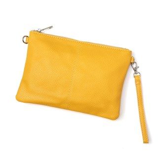 Vegan Leather convertible clutch bag in mustard yellow | Image 2