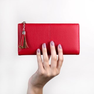 Large red faux leather zip purse with tassel | Image 3