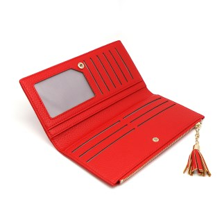 Large red faux leather zip purse with tassel | Image 2
