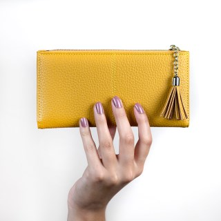 Large mustard faux leather zip purse with tassel | Image 3