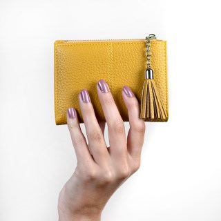 Compact mustard faux leather zip purse with tassel | Image 3