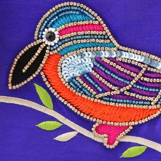 Purple purse with embellished kingfisher and tassel zip | Image 2