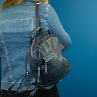 Vegan Leather compact backpack in navy blue | Image 3