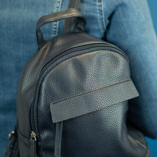 Vegan Leather compact backpack in navy blue | Image 4