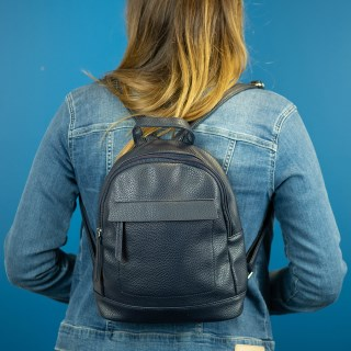 Vegan Leather compact backpack in navy blue | Image 2