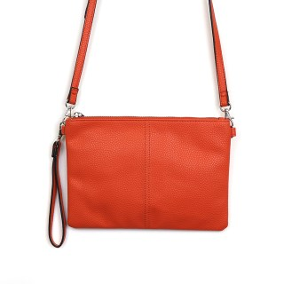 Vegan Leather convertible clutch bag in orange | Image 2