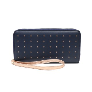 Navy faux leather purse with rose gold star detailing | Image 2