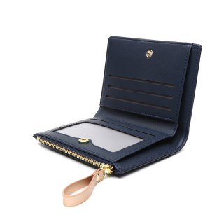 Compact navy faux leather and rose gold star purse | Image 2