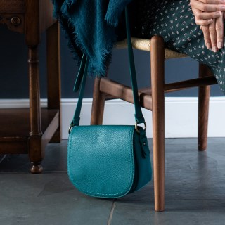 Teal vegan leather saddle bag with contrast stitching | Image 3