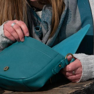 Teal vegan leather saddle bag with contrast stitching | Image 2