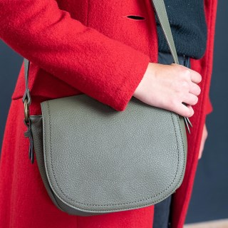 Olive vegan leather saddle bag with contrast stitching | Image 2