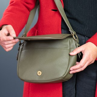 Olive vegan leather saddle bag with contrast stitching | Image 3