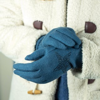 Teal wool glove with star embellishment | Image 2