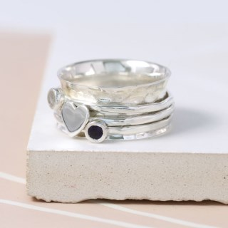 Sterling silver, gemstone and silver heart spinning ring | Image 3