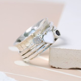 Sterling silver, gemstone and silver heart spinning ring | Image 4