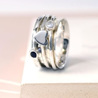 Sterling silver, gemstone and silver heart spinning ring | Image 5