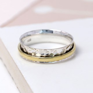 Sterling silver and brass fine band spinning ring | Image 4