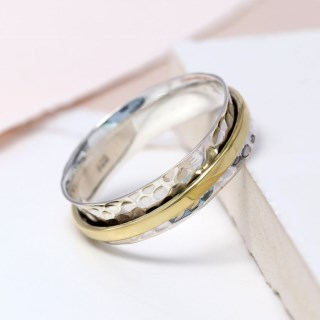 Sterling silver and brass fine band spinning ring | Image 5