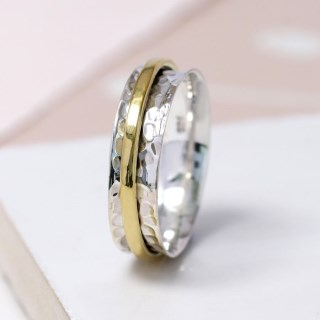 Sterling silver and brass fine band spinning ring | Image 3