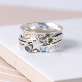 Sterling silver gemstone and star spinning ring | Image 3