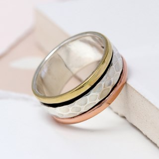 Sterling silver spinning ring with triple metallic finish | Image 2