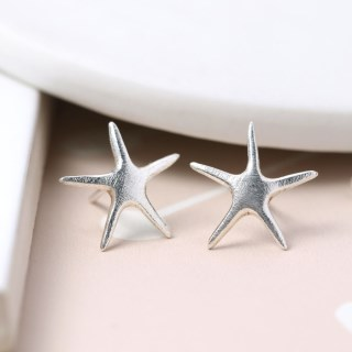 Sterling silver brushed finish starfish earrings | Image 4