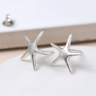 Sterling silver brushed finish starfish earrings | Image 2