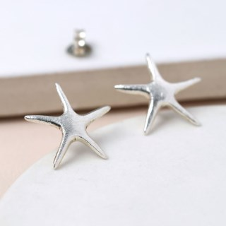 Sterling silver brushed finish starfish earrings | Image 3