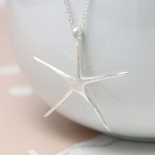 Sterling silver starfish necklace with brushed finish | Image 3