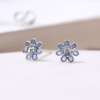 Sterling silver and blue enamel daisy crystal earrings | Image 2