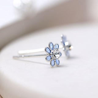 Sterling silver and blue enamel daisy crystal earrings | Image 4