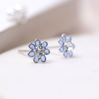 Sterling silver and blue enamel daisy crystal earrings | Image 3