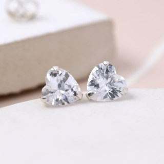 Faceted clear crystal heart shape stud earrings | Image 3