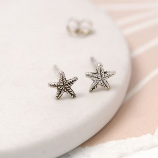 Sterling silver textured starfish stud earrings | Image 4