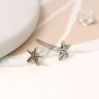 Sterling silver textured starfish stud earrings | Image 3