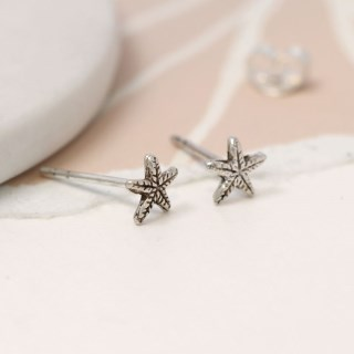 Sterling silver textured starfish stud earrings | Image 2