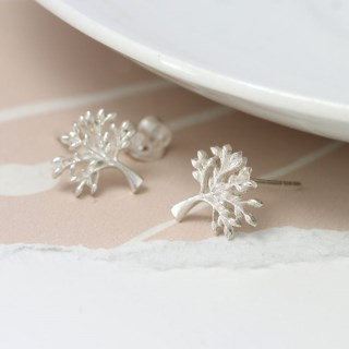 Sterling silver tree stud earrings | Image 4