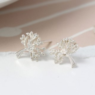 Sterling silver tree stud earrings | Image 2
