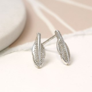 Sterling silver feather stud earrings | Image 2