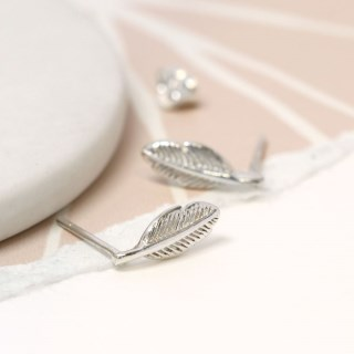 Sterling silver feather stud earrings | Image 4
