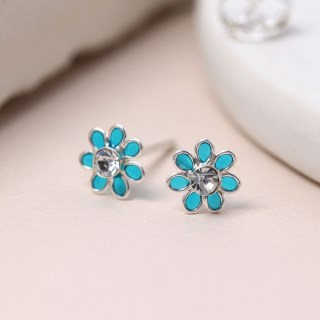 Silver and aqua enamel daisy crystal earrings | Image 2