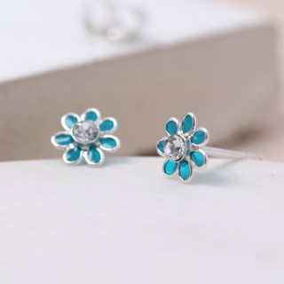 Silver and aqua enamel daisy crystal earrings | Image 4
