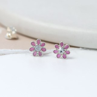 Sterling silver and pink enamel daisy crystal earrings | Image 2