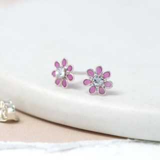 Sterling silver and pink enamel daisy crystal earrings | Image 3