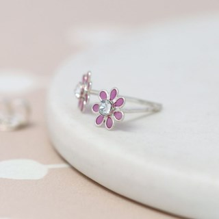 Sterling silver and pink enamel daisy crystal earrings | Image 4