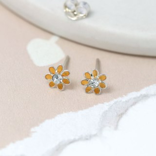Sterling silver and golden enamel daisy crystal earrings | Image 2