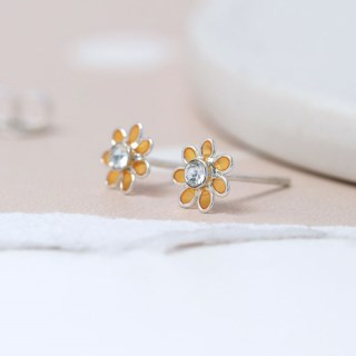 Sterling silver and golden enamel daisy crystal earrings | Image 3