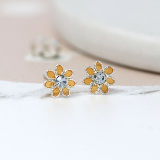 Sterling silver and golden enamel daisy crystal earrings | Image 4
