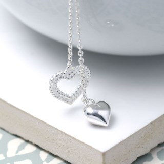 Sterling silver two hearts double drop necklace | Image 5