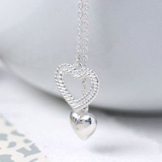 Sterling silver two hearts double drop necklace | Image 4